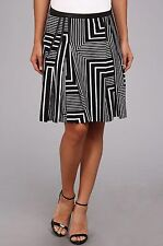 Calvin Klein Black and White Contrasting Stripe Pattern Pleated Skirt Size 12