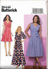 BUTTERICK SEWING PATTERN 6446 MISSES 6-14 PLEATED OR FLARED WRAP DRESSES & MAXI