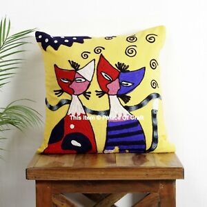 Indian Suzani Embroidery Work Cat Home Decorative Pillow Case Cushion Cover