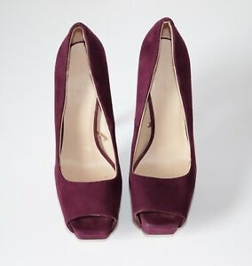 Women's ZARA BASIC Peep Toe High Heel Platform Purple 100% Leather Shoes UK4
