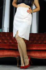 Vtg Komar Smooth Ivory Nylon Simple Classic Half Slip Skirt sz L