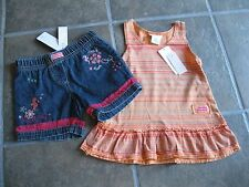 Naartjie Essential Faded Stripe Tank Tunic Papaya Denim Emb Net Short sz 4 NWT