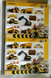 2 New Maisto Diecast Metal Volvo Construction Set Vehicles Accessories Toys Lot