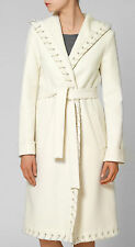 HALSTON COLLECTION IVORY/CREAM HOODED WOOL BLEND COAT RETAIL £1770 UK 12/14 BNWT
