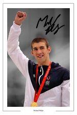 MICHAEL PHELPS SWIMMING AUTOGRAPH SIGNED PHOTO PRINT OLYMPICS