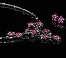 Floral Necklace Earrings Jewellery Set Made with Pink Swarovski Crystals Gift