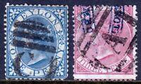 CEYLON — SCOTT 61-62 (SG 61-62) — 1868 QV ISSUE  — USED — SCV $64.00