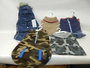 Lot 5 Top Paw Dog Hooded Coat Sweater Fleece Camo Cardigan Reflective NWT Large
