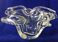 Vintage Modernist MCM Hand-Blown Art Glass Crystal Freeform Ashtray Heavy