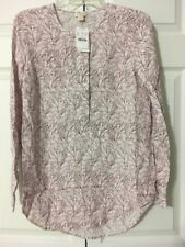 NWT J Crew printed covered-button crepe henley tunic size XS Faded Shell Pink 12