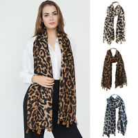Stylish Classical Leopard Printing Twill Tassel Fashion Women Scarf Winter Shawl