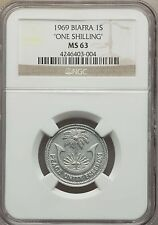 "1969 Biafra Nigeria Republic ""One"" Shilling NGC MS 63, KM # 3, Very Rare Type"