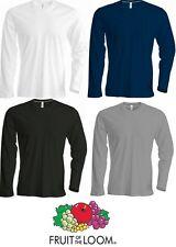 3 Pack Mens T Shirt Long Sleeve FRUIT OF THE LOOM T Shirt Crew Neck T Shirt