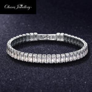 18K White Gold Cubic Zirconia CZ Tennis Crystal Bracelet Wedding Gift Jewellery