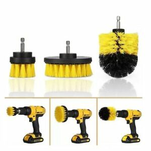 HIT Drill Brush Tub Cleaner Grout Power Scrubber Cleaning Combo Tool Kit Yellow