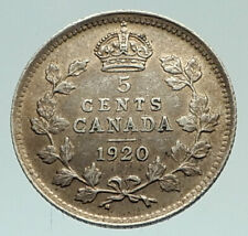1920 CANADA - UK King George V - Authentic Original SILVER 5 CENTS Coin i77012