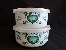 ENAMEL NESTING BOWLS with Lids Set of 2 White Green Heart Mixing Food Storage