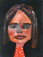 Outsider Portrait Painting Dark Evening Loosely Painted Art Katie Jeanne Wood