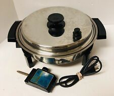 """Vintage West Bend LIQUID CORE 17884 Electric Skillet Fully Immersible 11"""" USA"""