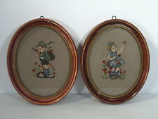 Pictures Needlepoint Set of 2 Vintage Hummel Style Boy and Girl Framed Oval