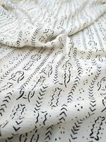 """African Bogolan Black & White Mud Cloth Textile  64"""" By 41"""" - MALI - for Pillows"""