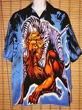 NWT Veezo Blue Multi Color Graphic Print Shirt 100%Polyester Mens XL Tiger Lion