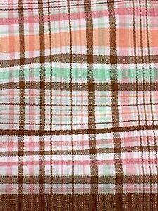 """Brown Seersucker 70s Vintage Woven Plaid Fabric 2 1/8 Yds 14 Wide 19"""" Full Width"""