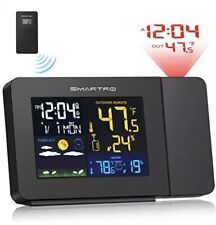 SMARTRO SC91 Projection Alarm Clock for Bedrooms with Weather Station, Wireless