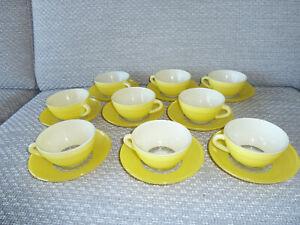 Tasses + sous tasses vintage duralex jaune