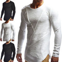 Mens Long Sleeve O Neck Ripped Longline T-Shirt Blouse Pullover Muscle Tee Tops