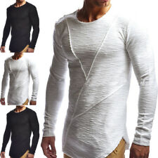 Mens Long Sleeve O Neck Ripped T-shirt Collar Jumper Blouse Pullover Muscle Tops