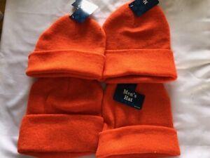 NEW Mens Knit Hat's Safety Orange Lot Of 4 OSHA Hunters
