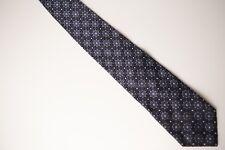 Beautiful Blue Medallion Geometric BURMA BIBAS 100% Silk Neck Tie