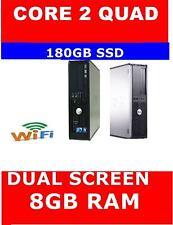 DELL 780 COMPUTER PC CORE 2 QUAD DUAL SCREEN 180GB SSD 8GB RAM WINDOWS 10 WIFI