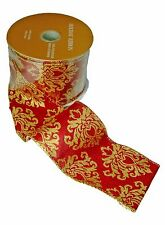 """Holiday Wired Ribbon Red & Gold Damask Christmas 2.5"""" x 10 yards"""