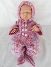 Hand knitted dolls clothes (Three piece Winter set) fit Boutique La Newborn doll