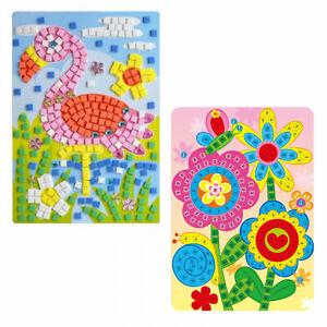 BELIOF Papier Mosaik Klebebilder zum Basteln Kinder Kreative Sticky Mosaik Set mit 9 Motivkarten und Farbige Seidenpapier Selbstklebende Kn/üddelbilder f/ür Kinderlernspielzeug