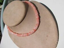 VINTAGE ANGEL SKIN CORAL GLASS 8 MM.ODD SHAPE RUFFLE BEADS NECKLACE PUSH CLASP