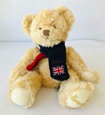 Harrods Plush Teddy Bear Wearing Knit Scarf with Uk Flag Soft Vanilla Beige