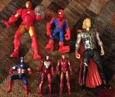 Marvel Figure Lot Of 6 Iron Man Thor Spider Cap America