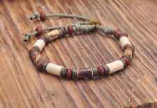 G164 D Handmade Craft Hemp Surfer Wristband Bracelet Bangle Ceramic Clay Beads