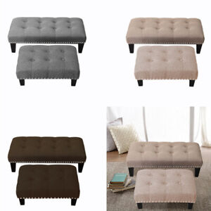 Foot Rest Stool Padded Footstool Pouffe Rest Seat Chair with Wooden Legs 2 Size