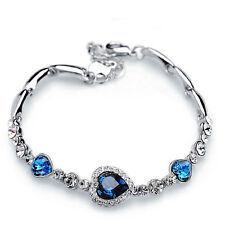 Fashion Women Blue Crystal Rhinestone Heart Charm Bangle Bracelet Jewelry Gift