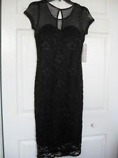 Almost Famous Black Lace Mesh Shoulder Dress Size L NWT