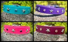 EASY CLEAN Rhinestones & Stars TEAL PINK PURPLE Dog Collar Hand-Made in USA