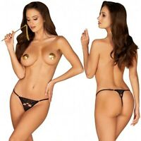 OBSESSIVE lingerie perizoma da donna sexy aperto intimo nero in pizzo slip tanga