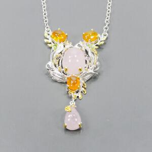 "Handmade Morganite Necklace 925 Sterling Silver  Length 18""/N06487"