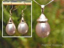 PALE LILAC Shell Pearl 13x18mm Pendant & earrings - 925 SOLID Silver