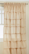 """Two (2) Gypsy Ruffled Sheer Curtain Panels, Sand, 60"""" wide by 63"""" long"""