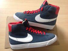 Para mujer Nike Blazer Mid Gamuza Talla 3 UK Azul Blanco Rojo Rrp £ 64.99 Venta